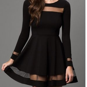 Lulu's Black Mesh Cutout Accent Long Sleeve Dress